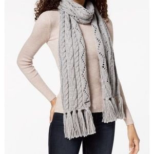 Michael Kors Pointelle Cable-knit Muffler Pearl He